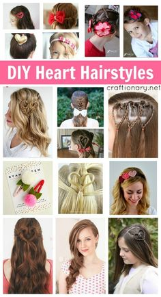 DIY heart hairstyles. Cute hairstyles for Valentines day that can also be incorporated in daily life for those who love to play with their hair