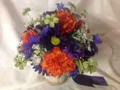 Purple, Orange, and Green Bridal Bouquet! Beautiful colors together! Etsy: Occasionsbykim