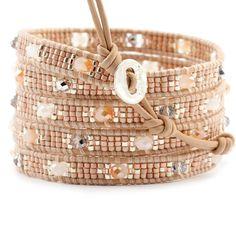 Champagne Mix Wrap Bracelet on Peach Leather - Chan Luu