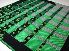 SAINT PATRICK'S DAY TEXTILE STUFF..............PC..............Quilted Table Topper/Wall Hanging , St. Patrick's Day Quilt , Modern Convergence Quilt by VillageQuilts on Etsy