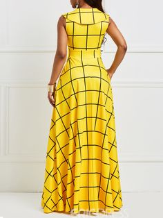 Summer Sleeveless Turn Down Collar Zipper High Waist Yellow Plaid Long Dress Maxi Evening Gowns Women Color Yellow Size M African Maxi Dresses, Latest African Fashion Dresses, African Attire, Elegant Dresses, Casual Dresses, Yellow Party Dresses, Hijab Stile, Marine Uniform, Ruffle Sleeve Dress