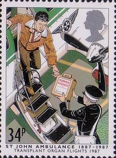 Centenary of St John Ambulance Brigade 34p Stamp (1987) Transport of Transplant organ by Air Wing, 1987