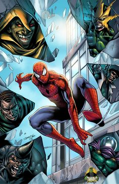 #Spiderman #Fan #Art. (Spider-Man vs Sinister Six - colored) By: Spidey0318. (THE * 5 * STÅR * ÅWARD * OF: * AW YEAH, IT'S MAJOR ÅWESOMENESS!!!™)[THANK Ü 4 PINNING<·><]<©>