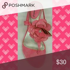 Pink Flower Heel New in box.. Flower Decoration and Mirrored Kitten Heel Shoes