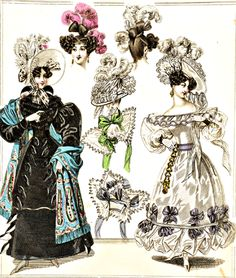 Fashion Plate (Carriage, Head, and Evening Dresses) 1829