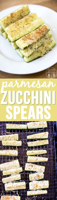 These parmesan zucchini spears are cooked to perfection and coated with a crispy italian parmesan mixture.
