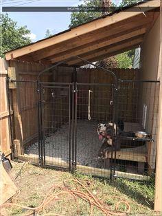 Dog Kennel Designs, Diy Dog Kennel, Kennel Ideas, Dog Kennel Roof, Building A Dog Kennel, House Building, Dog Yard, Dog Run Side Yard, Dog Spaces