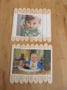 Popsicle stick puzzles - notice numbers, too - great for keeping kids busy at church, restaurants, etc.