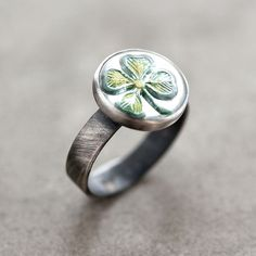 Shamrock Ring, Kelly Green Four Leaf Clover St. Patrick's Day Oxidized Sterling Silver Ring - Made in Your Size - Irish Lucky Charm. $85.00, via Etsy.