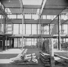 'Photograph showing Hunstanton Secondary Modern School, Norfolk, during construction', Nigel Henderson, – Tate Archive Alison And Peter Smithson, Under Construction, Norfolk, Multi Story Building, Modern, Image, School Days, Schools, Design