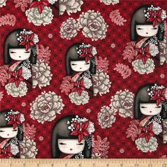 Nobuko-Believe Kimmidoll Allover Red from @fabricdotcom  Designed for Quilting Treasures, this cotton print fabric is perfect for quilting, apparel and home decor accents. Colors include black, taupe, grey, and red.