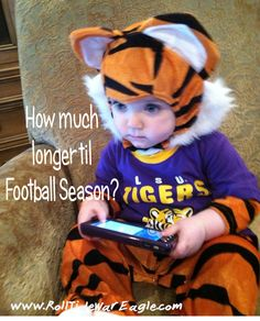 Little #LSU fan in huge anticipation of #CollegeFootball Season. www.RollTideWarEagle.com College Football Sports Stories, Podcasts, FREE Football Tutorial Train Deck. #CFB #NCAA