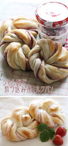 ジャム餡で折り込み風ミルクパン