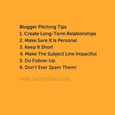 Tips for Blogger Pitch