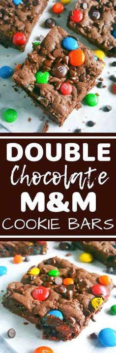 momma mia These lazy double chocolate chip m&m cookie bars are made with boxed cake mix and melted butter. They're so rich decadent and soft and all you need are 5 ingredients and one bowl! Best Dessert Recipes, Sweet Recipes, Delicious Desserts, Yummy Food, Easy Recipes, Brownie Recipes, Cookie Recipes, Chocolate Recipes, Chocolate Chip M&m Cookies