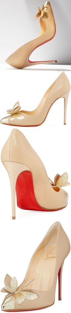 Christian Louboutin Maripopump Butterfly Red Sole Pump, Nude