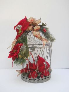 Country Christmas Holiday Winter Flower Floral Arrangement With Cardinals