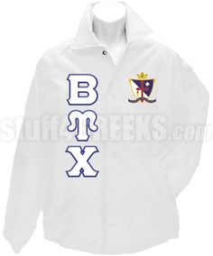 White Beta Upsilon Chi crossing jacket with the crest on the left breast and the Greek letters down the right.