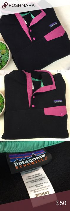 🍁 Patagonia Synchilla Black Ladies Pullover Sz L Perfect for FALL!!!! Grab this ultra soft Patagonia Synchilla for those cool evenings & sporting events! Women's Size Large. Black & pinkish purple accents. Has fuzzies at waist band & cuffs as photos shown. She has been worn & loved but no stains, holes etc & from a smoke free home!! Patagonia Jackets & Coats
