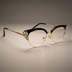 601612ed27 CCSPACE GORGEOUS Ladies Cat Eye Shiny Rhinestones Glasses Frames For Women  Brand Designer Eyewear Optical EyeGlasses 45120