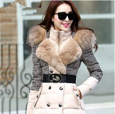New 2014 high quality warm fashion long slim thick women winter jacket houndstooth patchwork luxury raccoon fur hood down coat