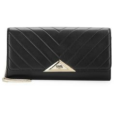 Karl Lagerfeld Paris Quilted Leather Clutch ($168) ❤ liked on Polyvore featuring bags, handbags, clutches, black, quilted leather purse, special occasion handbags, evening handbags, holiday handbags and karl lagerfeld handbags