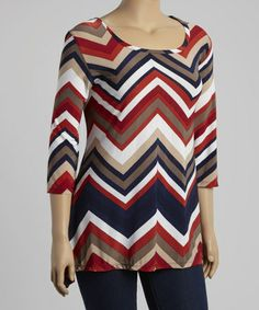 Look what I found on #zulily! Red & Navy Zigzag Three-Quarter Sleeve Tunic - Plus #zulilyfinds