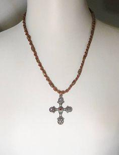 Macrame hemp necklace with cross pendant Cross Jewelry 441231370b69