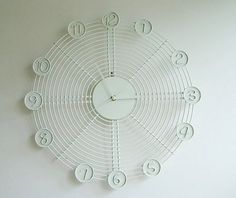 Hey, I found this really awesome Etsy listing at https://www.etsy.com/listing/240124154/white-wire-industrial-wall-clock-unique