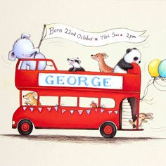 personalised baby name art, nursery art, baby elephant, panda, deer, dog and rabbit in a London bus, newborn baby gift by illustrationgarden on Etsy https://www.etsy.com/listing/208622897/personalised-baby-name-art-nursery-art
