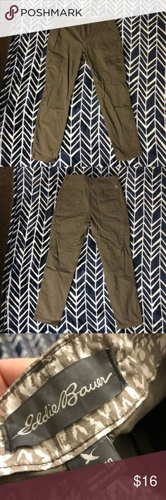 "Eddie Bauer brown Cargo Pants Woman's size 10 brown Eddie Bauer Cargo Pants. Very light wear. No pilling, fading, holes or stains. The waist measures 16 1/2"" flat across, the rise is 9"" and the inseam is 29 1/2"". Eddie Bauer Pants"