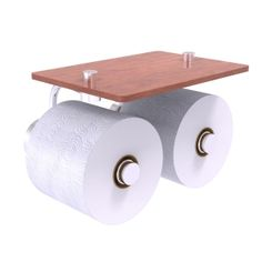 AlliedBrass.com | Dottingham Collection 2 Roll Toilet Paper Holder with Wood Shelf. | Price, buy, reviews.