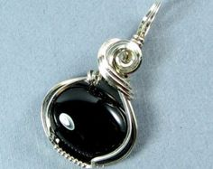 Sterling Silver Black Onyx Pendant Wire Wrapped Pendant Silver and Black Pendant