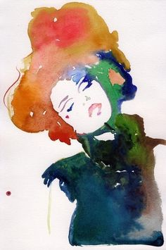 "Canvas Print of Watercolor Fashion Illustration 24"" x 35"". Titled - Model ink. $250.00, via Etsy."