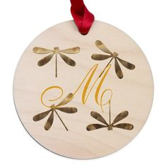 Gold Dragonfly Monogram on CafePress.com Playroom Decor, Nursery Decor, Ornaments Design, Monogram Design, Gift Wrapping, Wrapping Ideas, Holiday Traditions, How To Make Ornaments, Red Ribbon