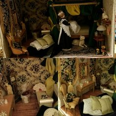 """Medieval Castle Lady's Boudoir.  Titled """"Making The Bed"""".  Many pieces handmade by me including mattress, all bedding, canopy and curtains, perfume bottles, hatbox, hand-dipped candles, and wall tapestries.  The tiny Russian Matryoshka Dolls in front were a gift to M'Lady from one of the knights who traveled the world (my brother, Will).  Castle scene created by me."""