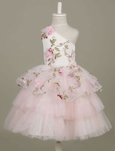 Flower Girl Dresses One Shoulder Toddler's Pageant Dress Light Pink Flowers Printed Tulle Tiered Tutu Dress