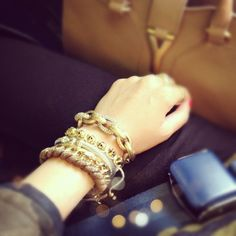 @wendyslookbook | {taking off} wrist jewels on flight to San Francisco :)