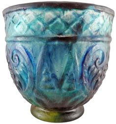 Exceptional huge vase, green and blue pate-de-verre glass, vase on foot, geometric pattern and flowers. Signed G. Argy-rousseau. Paris,…
