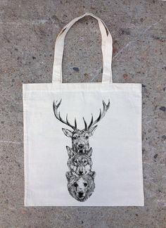 Cotton Canvas Tote Bag  Elk Wolf Bear Totem by CrawlspaceStudios, $5.50