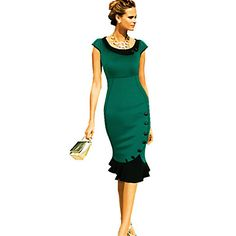 damesmode+col+stiksels+knop+ontwerp+bodycon+fishtail+jurk+–+EUR+€+17.63