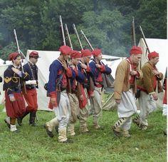 Mix of Confederate and Union Zouave reenactors Rolling Thunder, Civil Wars, April 7, Knights Templar, Gettysburg, American Civil War, Men's Clothing, Louisiana, 19th Century