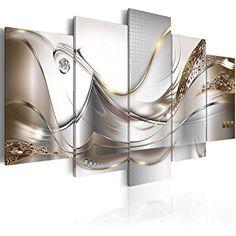murando® Bilder 200x100 cm - 3 Farben zur Auswahl ! XXL Format! Fertig Aufgespannt TOP Vlies Leinwand - 5 Teilig - Abstrakt Blumen Wand Bild Bilder Kunstdrucke Wandbild a-A-0004-b-o 200x100 cm