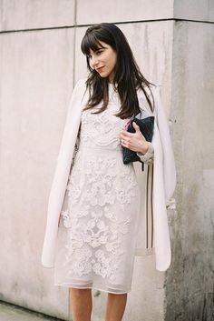(via Vanessa Jackman: London Fashion Week AW All White Outfit, White Outfits, White Dress, White Lace, London Fashion Weeks, Milan Fashion, Look Fashion, Fashion Beauty, Womens Fashion