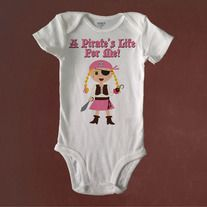 A Pirate's Life For Me, Girl Pirate, Baby Bodysuit or Toddler Tee.   Custom Made to Order using Carter's brand bodysuits and Rabbit Skins Toddler Tees.  NOTE: THE TODDLER TEES ARE CUT SMALL. ORDER ONE SIZE LARGER THAN USUAL.  Visit us also at RetroBabyWear.com.