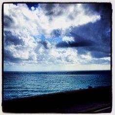 blue skies and sea