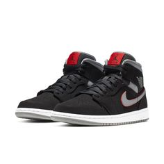 Air Jordan 1 Mid Black Grey Red Release Date Mens Nike Air, Nike Men, Baskets Jordan, Kicks Shoes, Style Retro, Boho Style, Hype Shoes, Jordan 1 Mid, Air Jordan Shoes