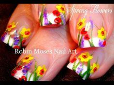 Spring Flower Nail Art Design Tutorial   DIY Spring Garden Nails! - YouTube