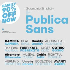 Publica Sans comes in nine weights from Extralight to Black, each complete with an optically corrected oblique. As an introductory offer, you can get Publica Sans at 90% off through the end of August.