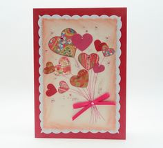 Handmade Card/ Collage Card With Paper Hearts - Valentines Day/ Birthday / Anniversary by SilverGlowDesigns on Etsy